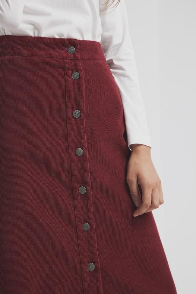 Jupe longue rouge bordeaux coton bio - Thinking Mu num 3