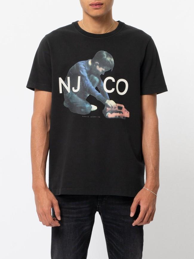 T-shirt noir en coton bio - roy logo boy - Nudie Jeans