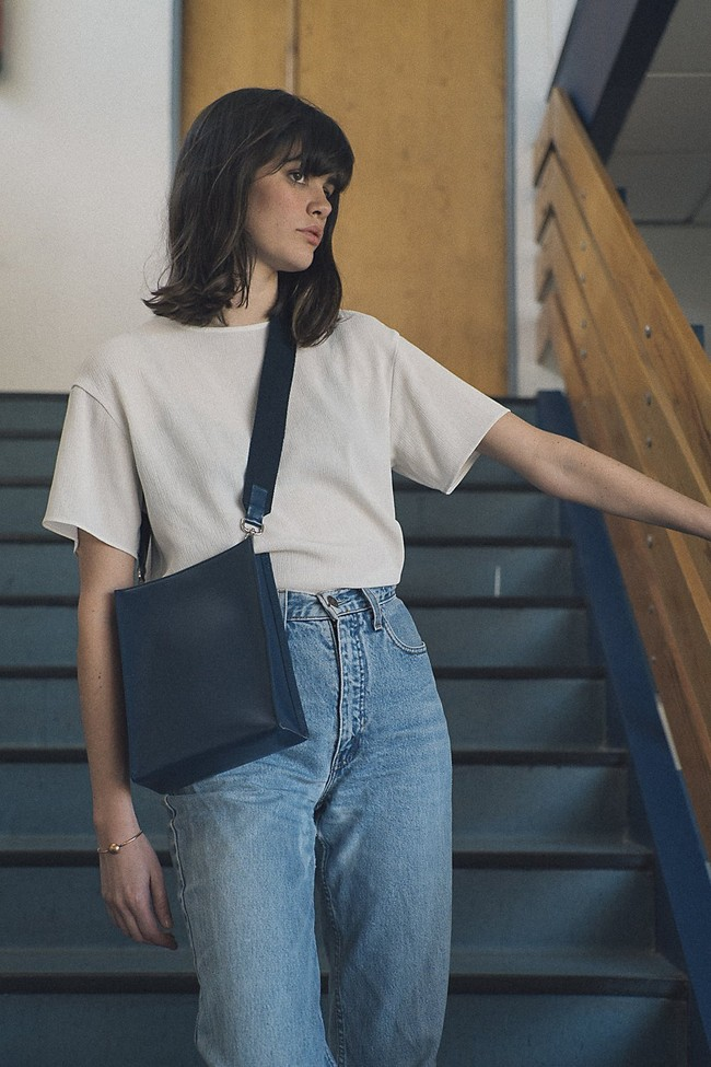 Sac marine en cuir recyclé - book bag - Walk with me num 1