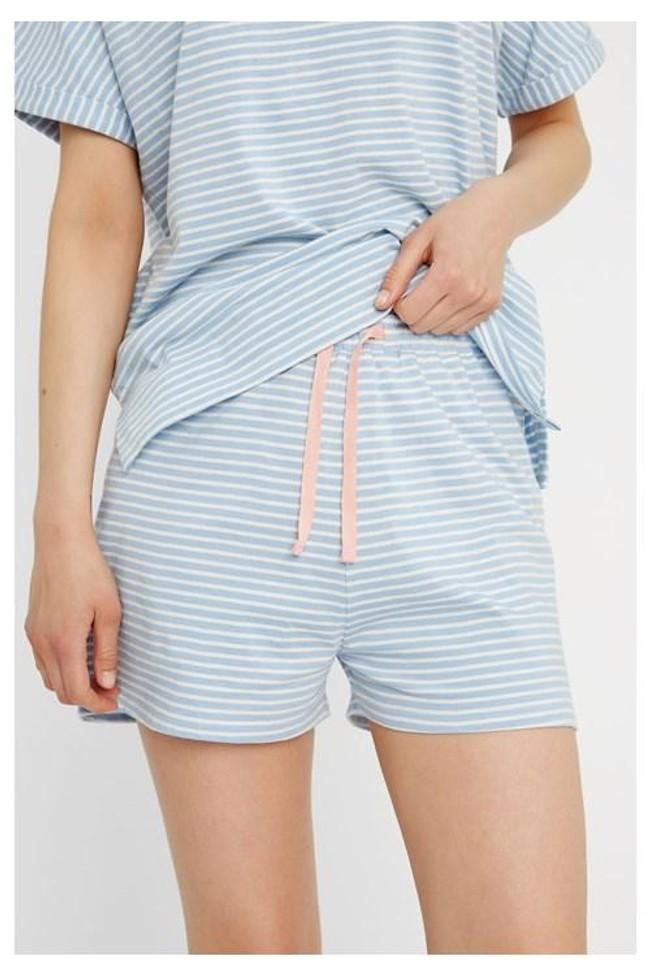 Short pyjama rayé bleu clair en coton bio - People Tree