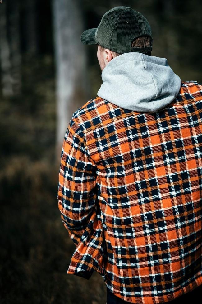 Surchemise à carreaux orange et marron en coton bio - pine - Knowledge Cotton Apparel num 2
