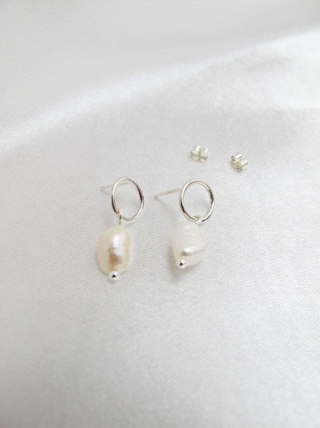 Boucles d'oreilles avec perle en argent recyclé - Wild fawn num 1