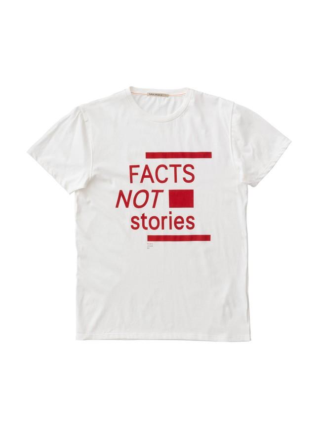 T-shirt imprimé blanc en coton bio - anders facts not stories - Nudie Jeans num 2