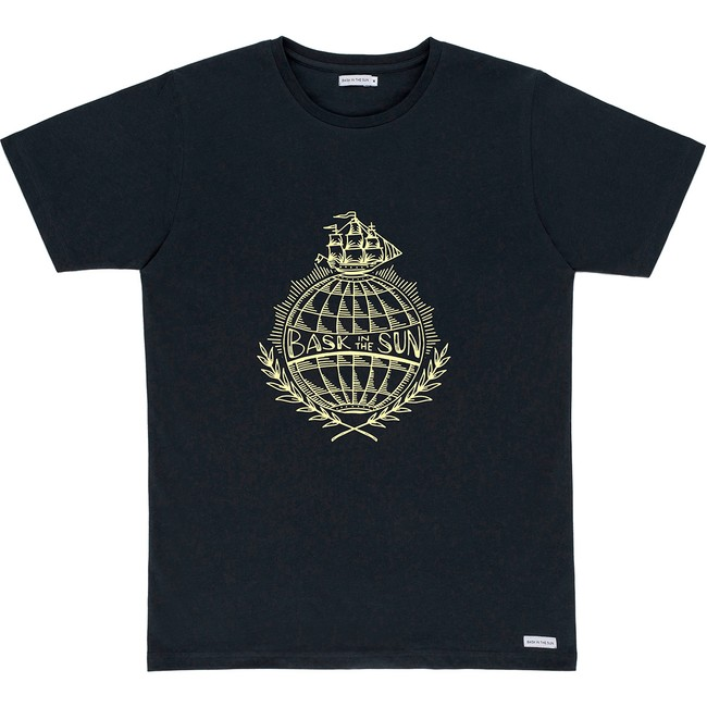 T-shirt en coton bio black traveller - Bask in the Sun