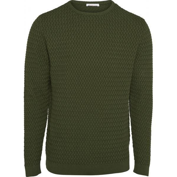 Pull vert en coton bio - small diamond knit - Knowledge Cotton Apparel
