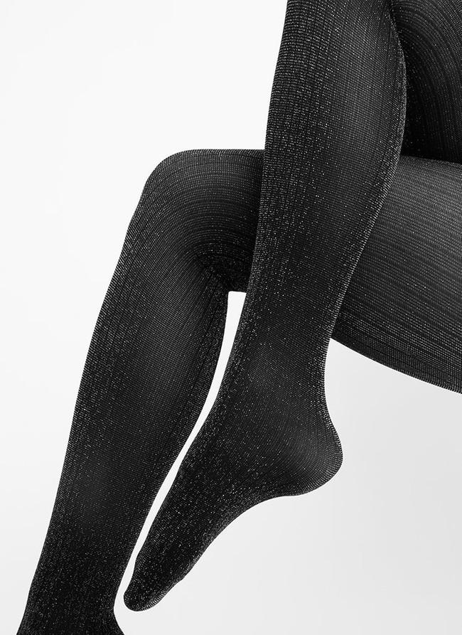 Collants à paillettes argentées 40 deniers noirs recyclés - lisa - Swedish Stockings num 1