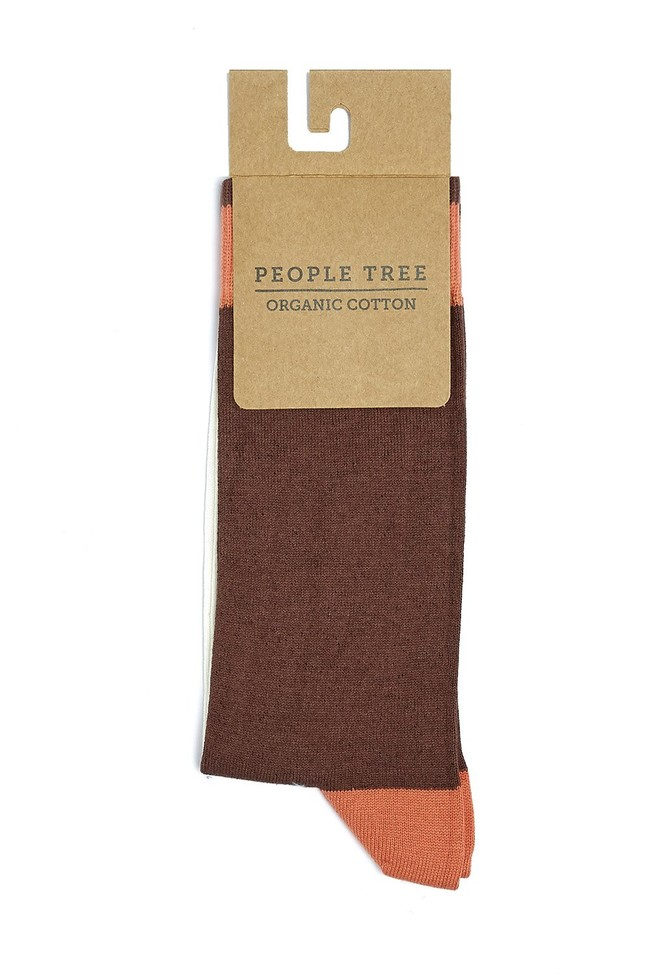 Chaussettes hautes bicolores en coton bio - People Tree