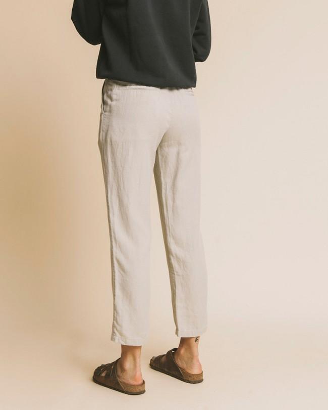 Pantalon beige en chanvre, coton bio et tencel - dafne - Thinking Mu num 3