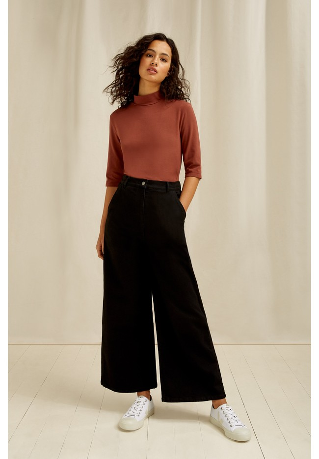 Pantalon ample noir en coton bio - rochelle - People Tree num 4