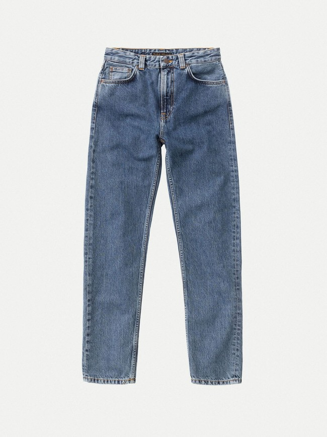 Jean mom bleu clair en coton bio - breezy britt friendly blue - Nudie Jeans num 5