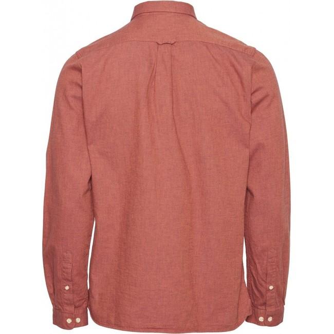 Chemise rouge en coton bio - mélange effet flanelle - Knowledge Cotton Apparel num 1