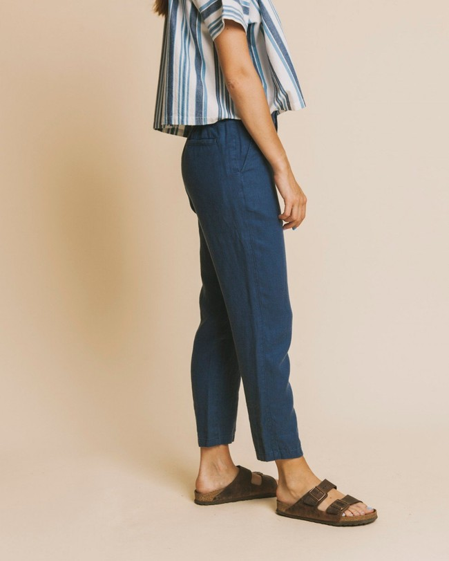 Pantalon bleu canard en chanvre, coton bio et tencel - dafne - Thinking Mu num 2