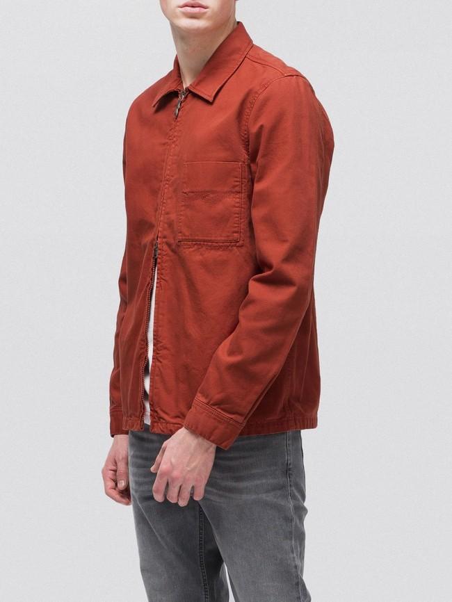 Veste zipée rouge en coton bio - sten zip - Nudie Jeans num 2