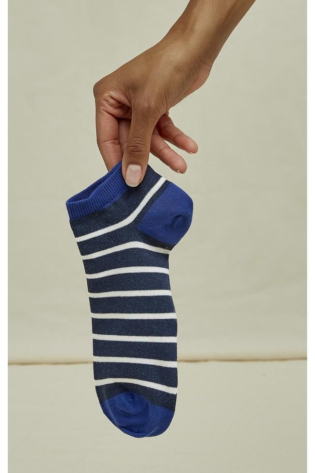 Chaussettes basses bleues rayées en coton bio - People Tree num 1
