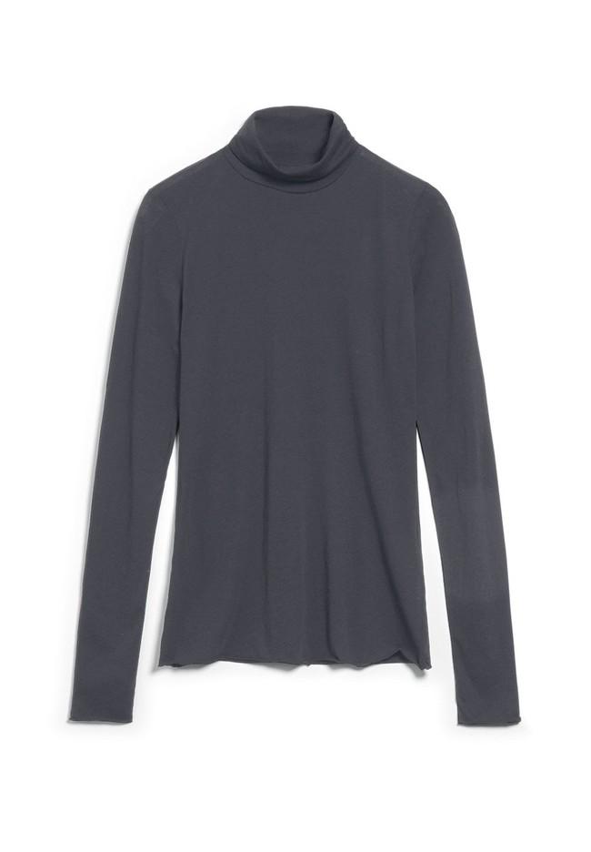 T-shirt manches longues col roulé gris en coton bio - malenaa - Armedangels num 3
