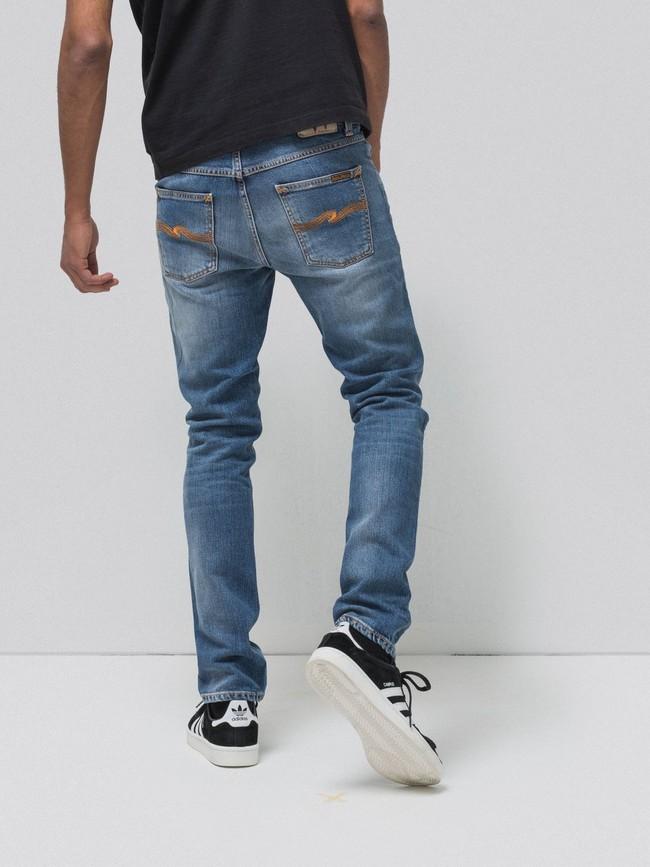 Jean slim bleu clair délavé en coton bio - lean dean pale favorite - Nudie Jeans num 1