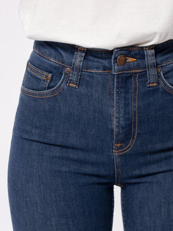 Jean skinny taille haute bleu en coton bio - hightop tilde light navy - Nudie Jeans num 4