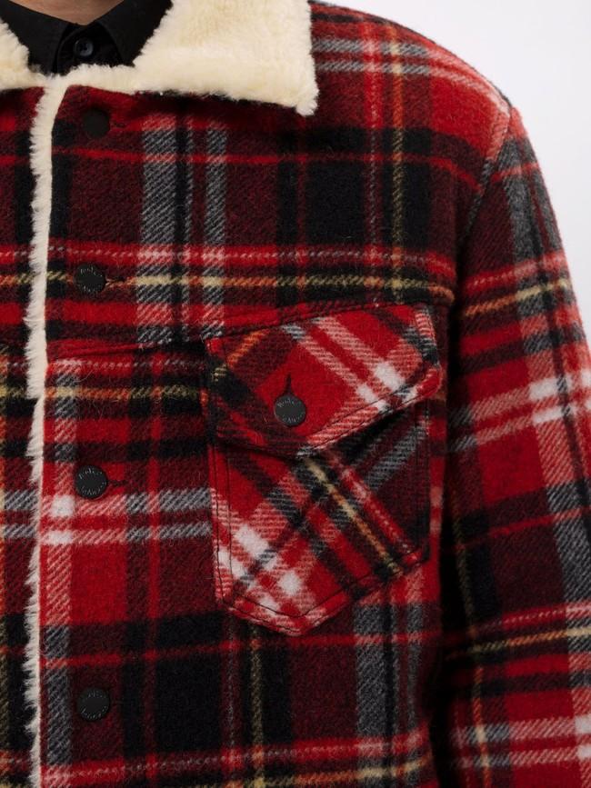 Veste sherpa carreaux rouge en laine recyclée - lenny - Nudie Jeans num 5