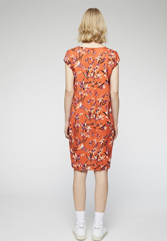 Robe orange à motifs en tencel - hilaa tropical spirit - Armedangels num 2