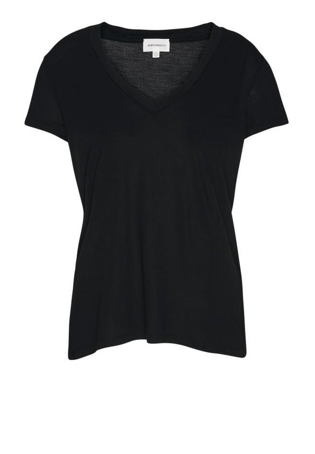 T-shirt col v noir en tencel - juliaa - Armedangels num 1