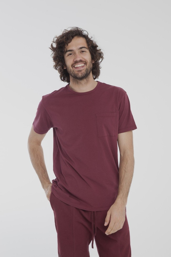 T-shirt uni bordeaux avec poche en coton bio - Thinking Mu