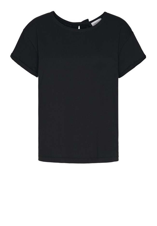 T-shirt avec nœuds noir en coton bio - ilkaa - Armedangels num 3