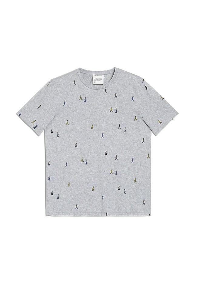 T-shirt gris motifs en coton bio - jaames people - Armedangels num 4
