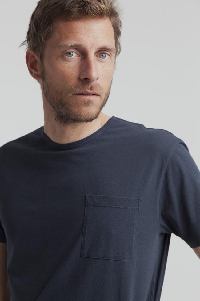 T-shirt uni marine avec poche en coton bio - Thinking Mu num 3