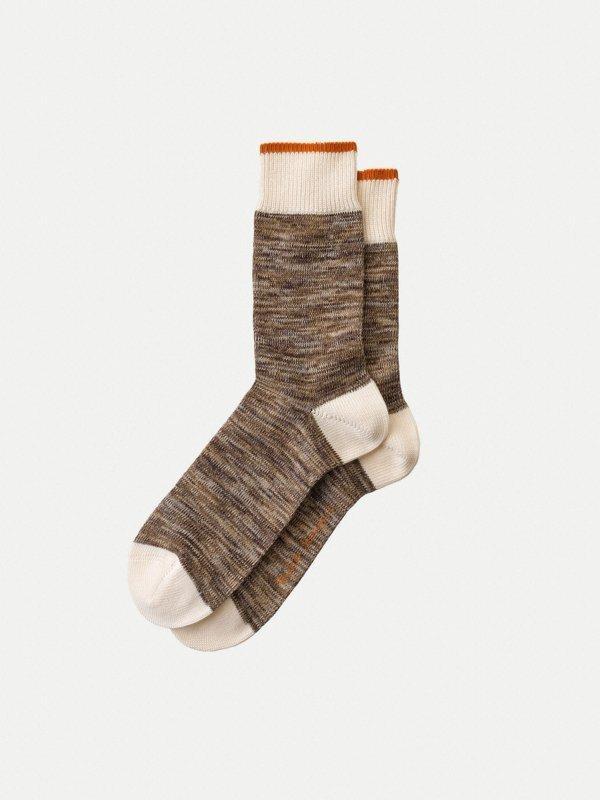 Chaussettes hautes marron chiné - rasmusson - Nudie Jeans