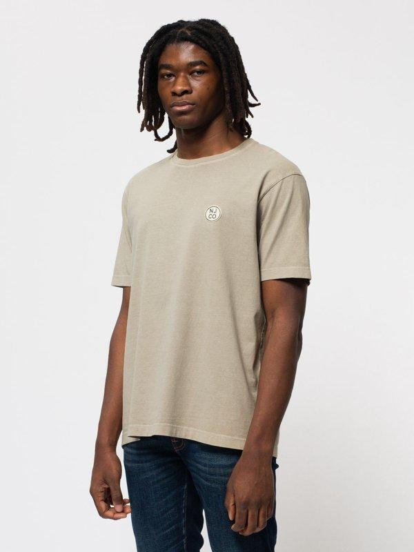 T-shirt ample taupe logo blanc en coton bio - uno njco circle - Nudie Jeans num 1