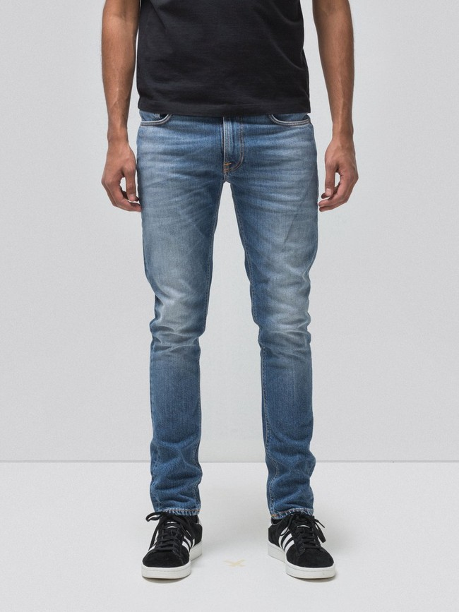 Jean slim bleu clair délavé en coton bio - lean dean pale favorite - Nudie Jeans