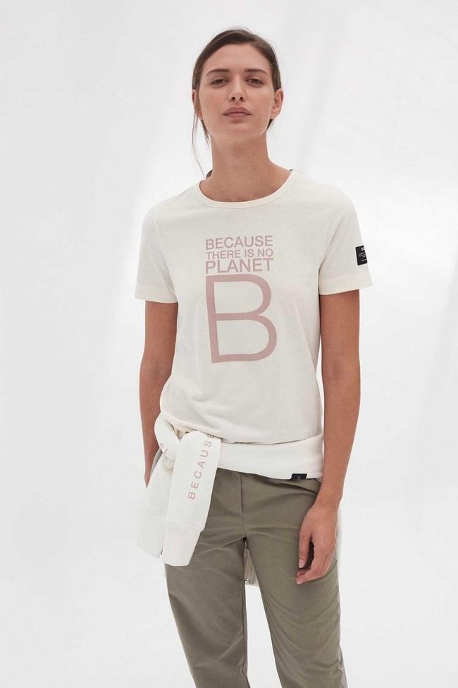 T-shirt imprimé blanc en polyester et coton recyclés - mariela big b - Ecoalf
