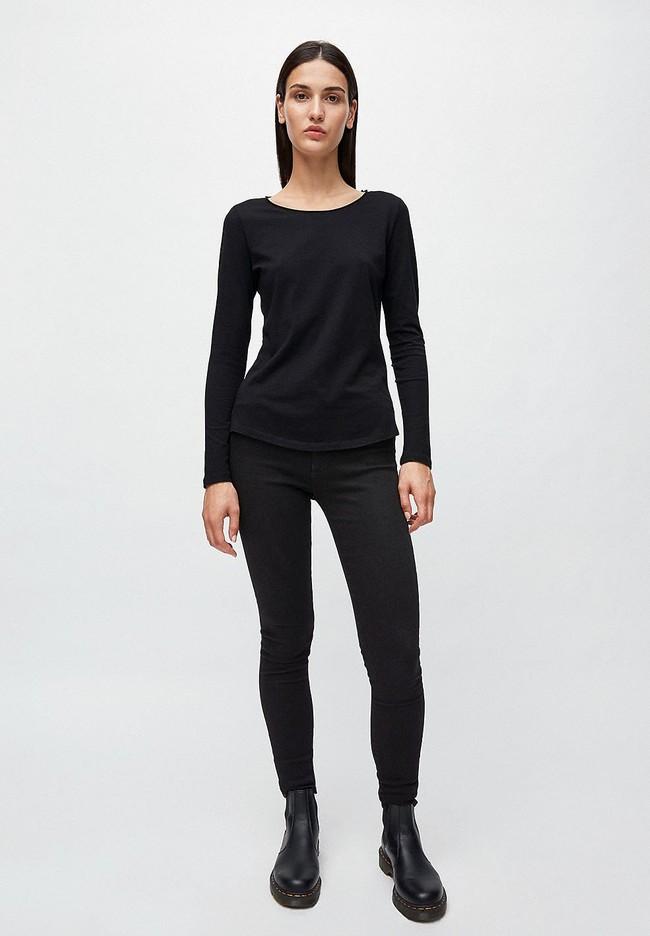 T-shirt manches longues noir en coton bio - rojaa - Armedangels num 1