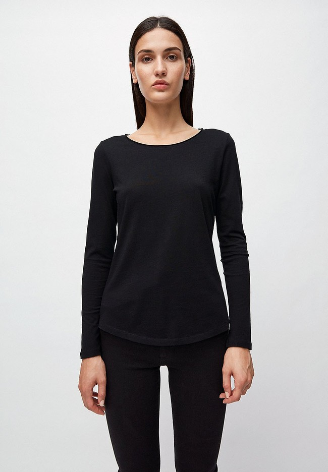 T-shirt manches longues noir en coton bio - rojaa - Armedangels