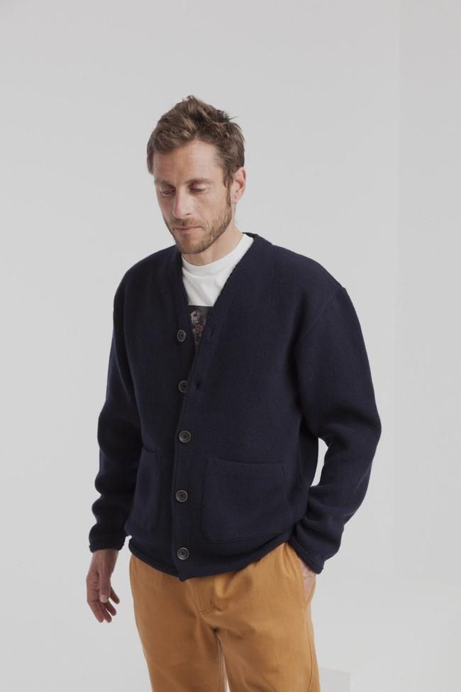 Cardigan marine en laine fine - Thinking Mu