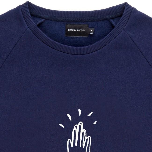 Sweat en coton bio navy high five - Bask in the Sun num 1