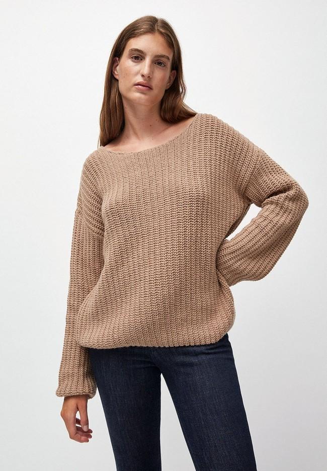 Pull ample beige foncé maille en coton et laine bio - saadie - Armedangels num 1
