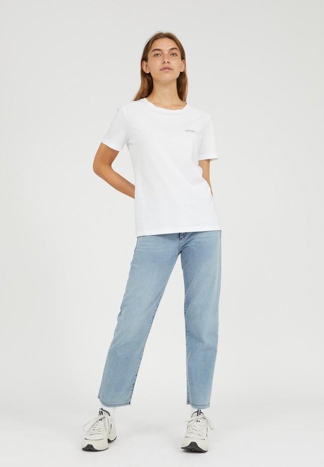 T-shirt brodé blanc en coton bio - maraa mindset - Armedangels num 2