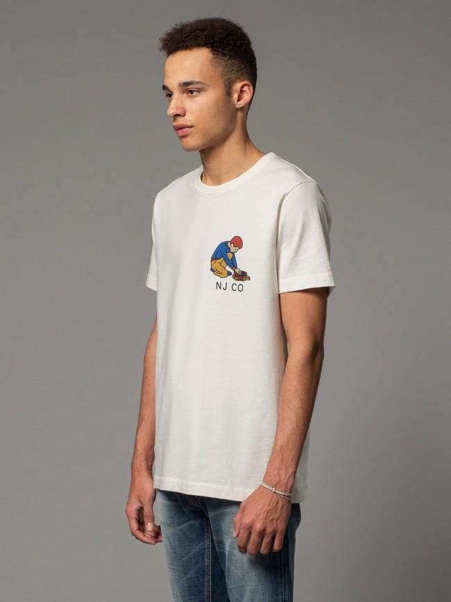 T-shirt blanc avec logo - roy multi logo boy - Nudie Jeans num 1
