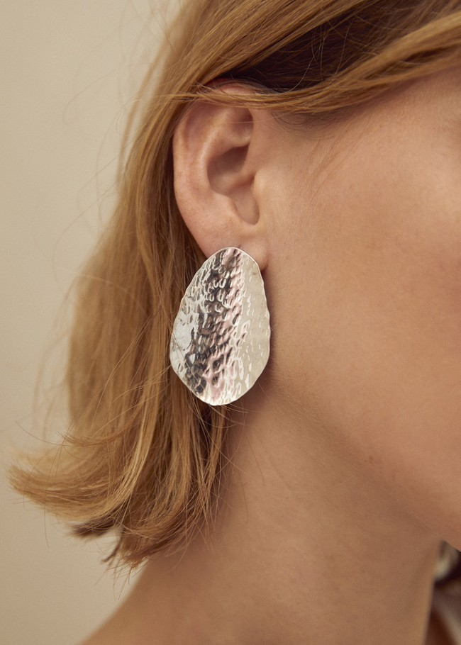 Grandes boucles d'oreilles texturées en argent recyclé - Wild fawn num 1