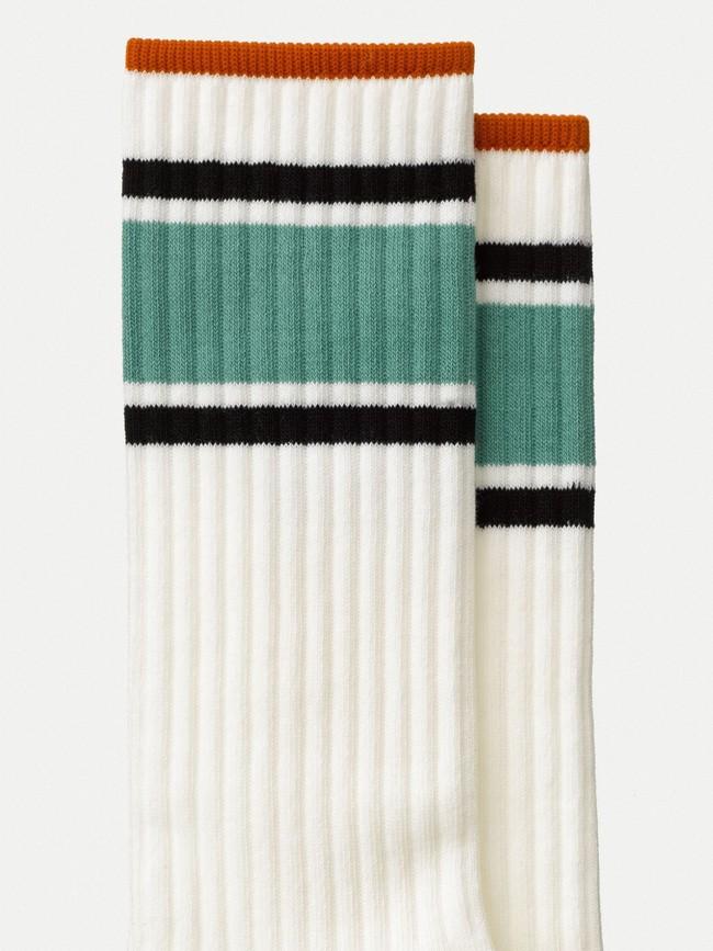 Chaussettes hautes blanches bandes tricolores en coton bio - amundsson sport - Nudie Jeans num 1