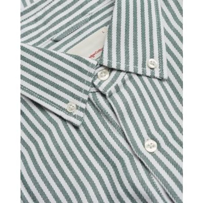 Chemise rayée vert en coton bio et tencel - stipped twill - Knowledge Cotton Apparel num 2