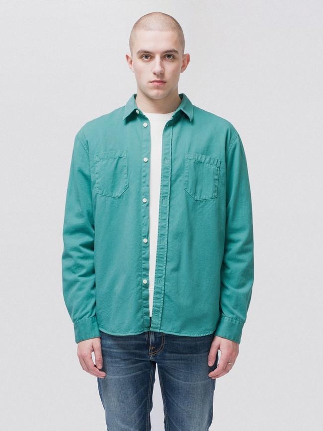 Chemise turquoise en coton bio - calle - Nudie Jeans