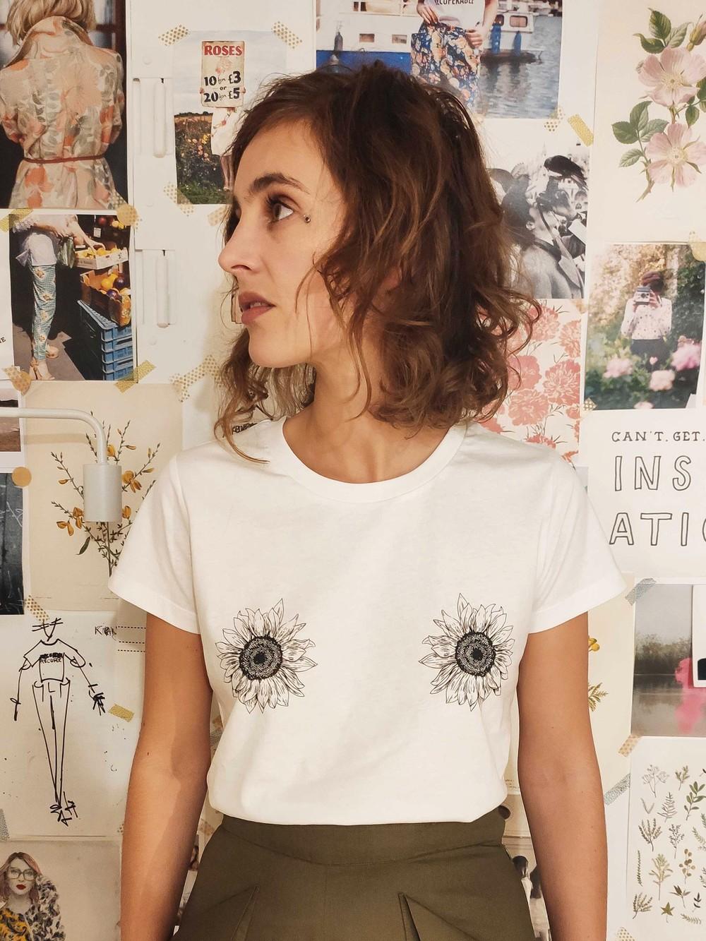T-shirt tournesols coton bio - Les Récupérables