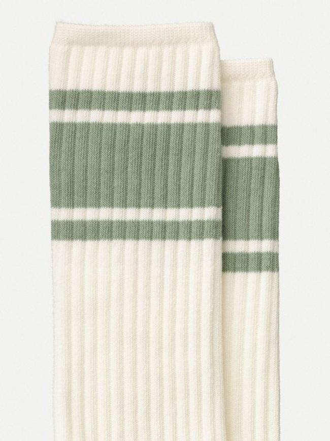 Chaussettes hautes blanc et turquoise en coton bio - amundsson sport - Nudie Jeans num 1