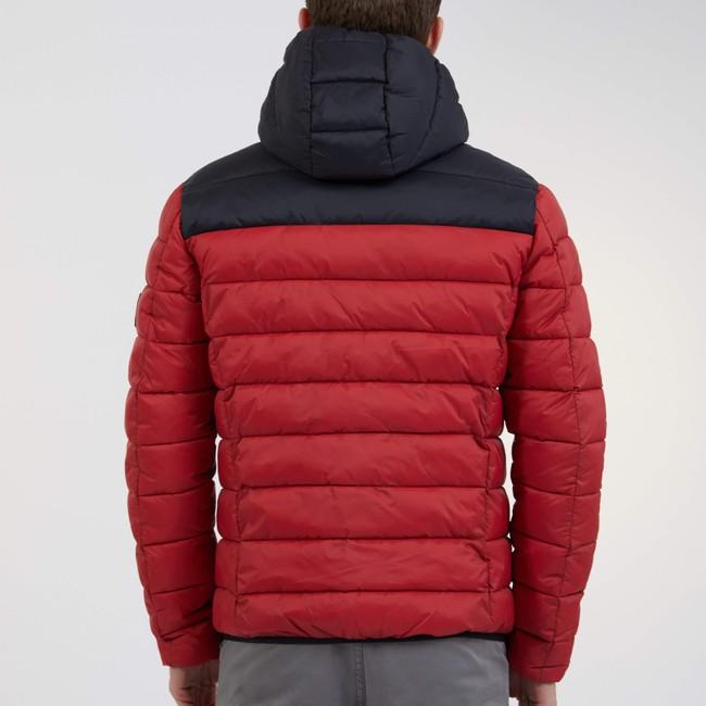 Doudoune à capuche bicolore rouge et noir en polyester recyclé - asp - Ecoalf num 2