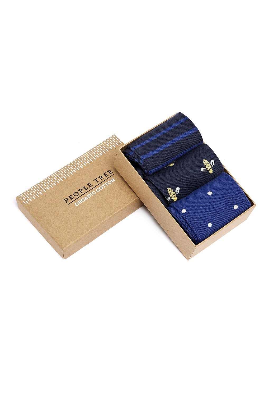 Pack de trois paires de chaussettes à motifs marine en coton bio - People Tree