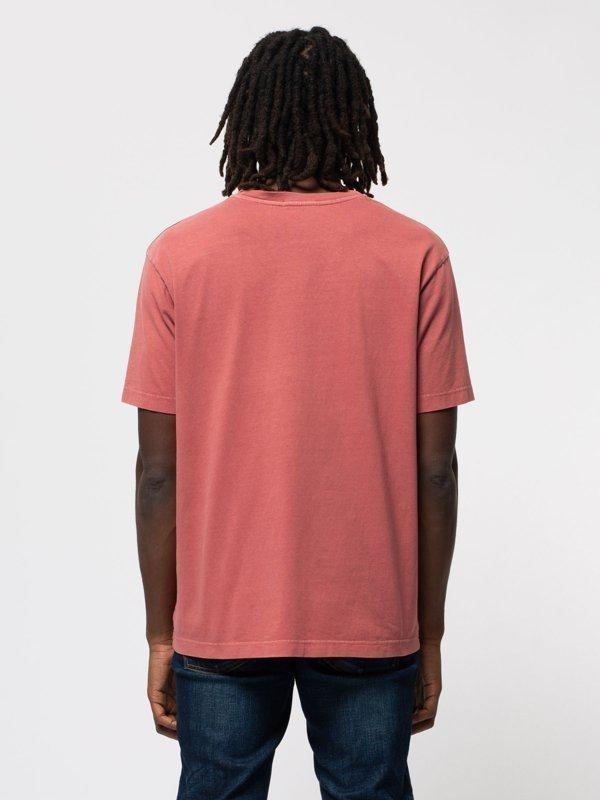 T-shirt ample corail logo bleu en coton bio - uno njco circle - Nudie Jeans num 2