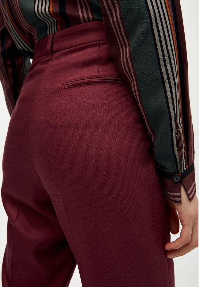 Pantalon à pinces bordeaux en coton bio - herttaa - Armedangels num 3