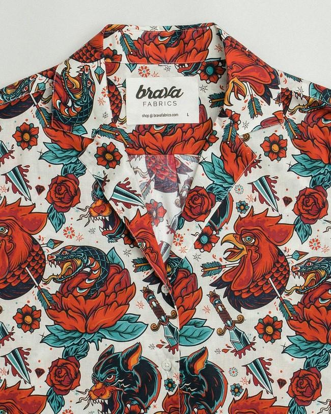Oldschool tattoo aloha shirt - Brava Fabrics num 2